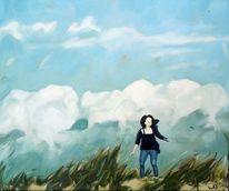 Wind, Dünen, Gras, Frau