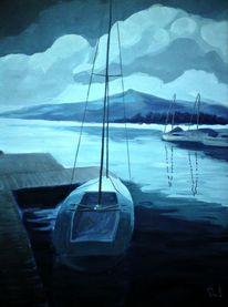 Welle, Boot, Wolken, Gewitter
