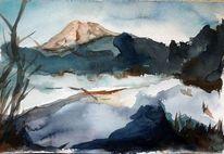 Berge, Alpenglühen, Wasser, Himmel