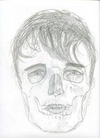 Portrait, Skizze, Bleistiftzeichnung, Schädel