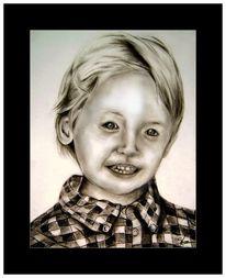 Kohlezeichnung, Zeichnung, Kind, Schwarz weiß