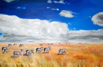 Savanne, Acrylmalerei, Tiere, Landschaft