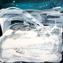Weiß, Abstrakt, Landschaft, Gemälde