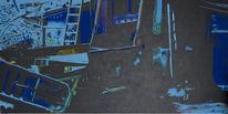 Blau, Schrott, Abstrakt, Malerei