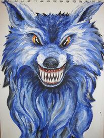 Blau, Fantasie, Tiere, Acrylmalerei