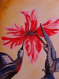 Tiere, Blumen, Vogel, Acrylmalerei