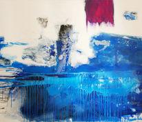 Malerei, Gezeiten, Inselblau, Modern