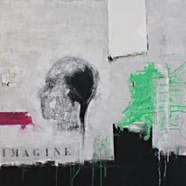 Grün, Malerei, Modern, Schwarz