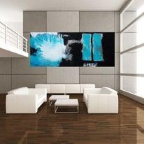 Wohnraumdesign, Kunstwohnen, Schwarz, Gemälde