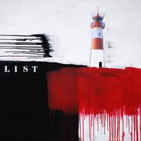 Leuchtturm, Abstrakt, Liste, Malerei