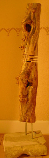 Skulptur, Holz, Edelstahl, Sandstein