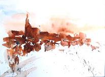 Schnee, Dorf, Dämmerung, Aquarell