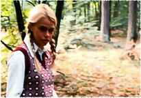 Blick, Frau, Mädchen, Wald