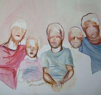 Familie, Gruppe, Kinder, Malerei