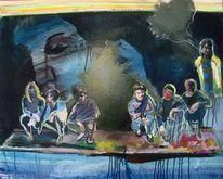 Malerei, Gruppe, Klassenbild, Figural