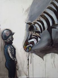 Zebra, Mütze, Kind, Malerei