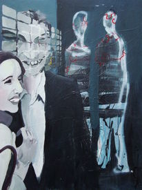 Frau, Mann, Paar, Malerei