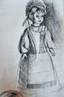 Zeichnungen, Blumen, Puppe