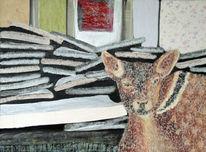 Bambi, Überzeichnet, Gegensatz, Acrylmalerei