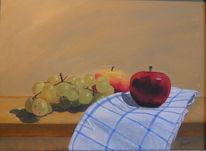 Tuch, Stillleben, Apfel, Weintrauben