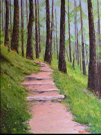 Waldweg, Lärche, Landschaft, Ölmalerei