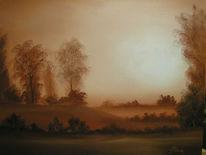 Sonnenaufgang, Herbst, Nebel, Malerei
