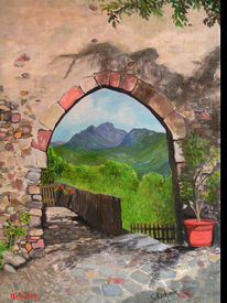 Eingang, Zaun, Landschaft, Berge