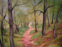Wald, Frühling, Waldweg, Malerei