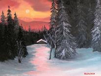 Winter, Schnee, Abendstimmung, Malerei