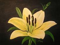 Blumen, Lilie, Gelb, Malerei