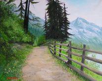 Stausee, Zaun, Wald, Ölmalerei
