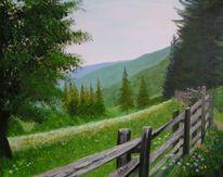 Wald, Blumen, Ölmalerei, Zaun