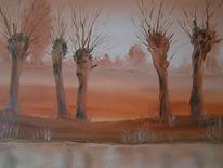 Nebel, Bach, Kopfweide, Malerei