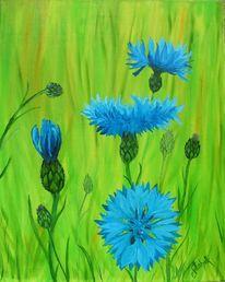 Kornblumen, Pflanzen natur, Malerei