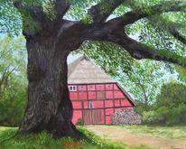 Scheune, Sommer, Linde, Holzstapel