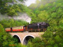 Wald, Ölmalerei, Brücke, Eisenbahn