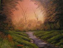 Sonnenaufgang, Wald, Bach, Malerei