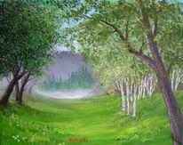 Wiese nebel, Gras, Ölmalerei, Blumen