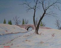Brücke, Bach, Winter, Ölmalerei