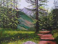 Waldweg, Schnalstal, Berge, Malerei