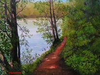 Weg, Teich, Sommer, Malerei