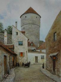 Straße, Reval, Turm, Malerei