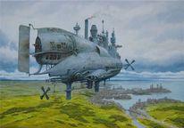 Viktorianisches, Steampunk, Luftschiff, Dampfschiff