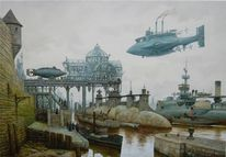Hafen, Dampfschiff, Viktorianisches, Steampunk