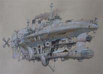 Luftschiff, Steampunk, Malerei, Schiff