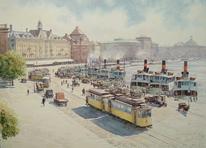 Dampfschiff, Stockholm, Landschaft, Straße