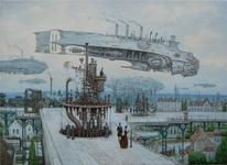 Dampfschiff, Luftschiff, Steampunk, Landschaft
