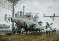 Steampunk, Viktorianisches, Luftschiff, Dampf