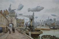 Dampfschiff, Dampf, Viktorianisches, Steampunk
