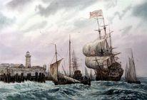 Wind, Schiff, See, Malerei